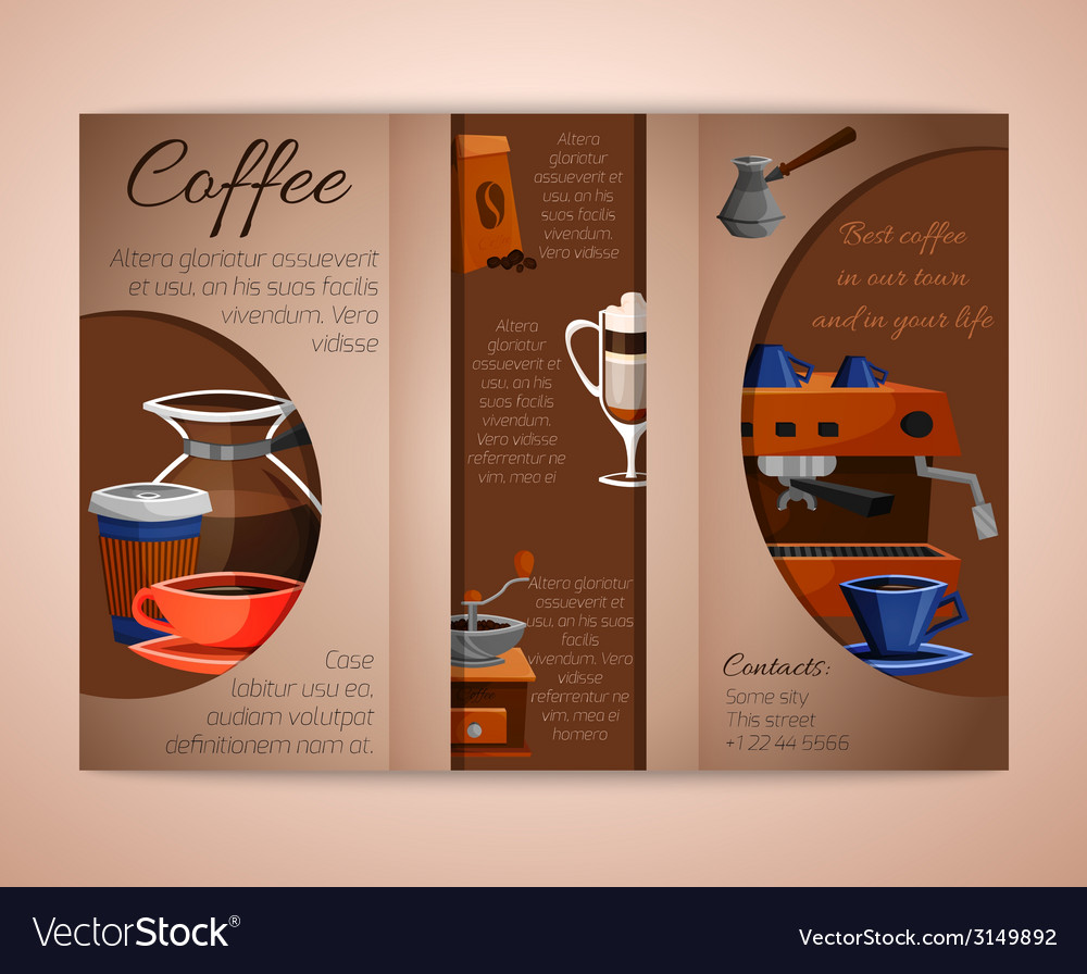 Coffee brochure tri-fold vector | Price: 1 Credit (USD $1)