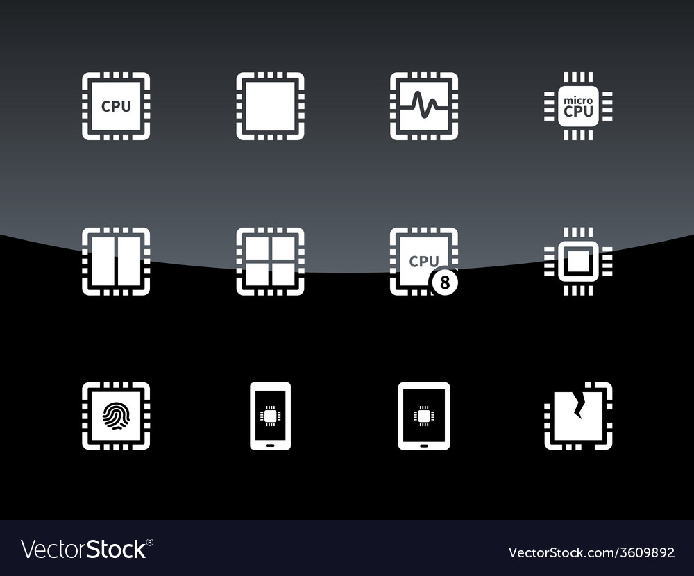 Cpu icons on black background vector   Price: 1 Credit (USD $1)