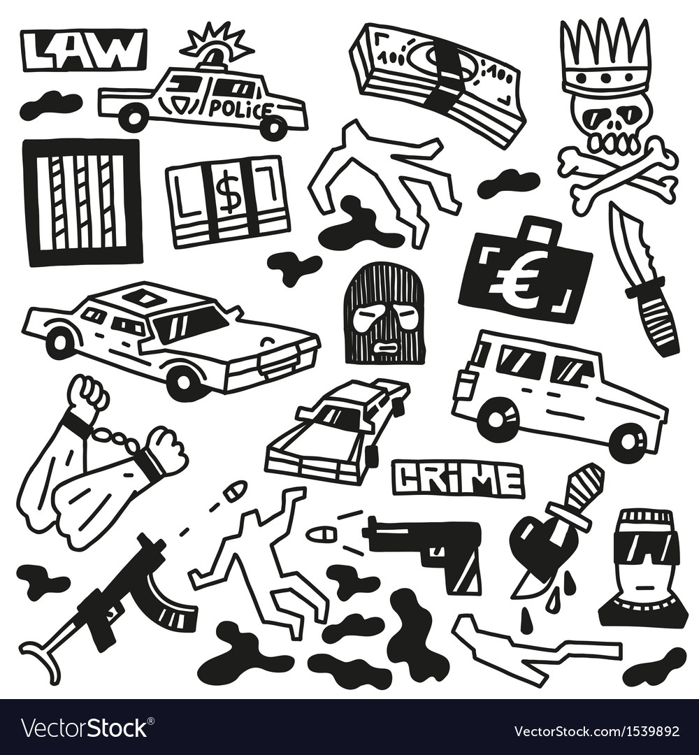 Crime - doodles vector | Price: 1 Credit (USD $1)