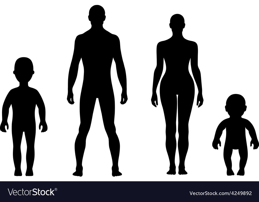 Full length front human silhouette set vector | Price: 1 Credit (USD $1)