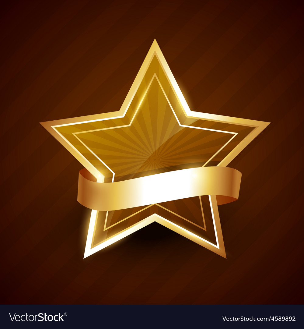 Golden star shining with ribbon vector | Price: 1 Credit (USD $1)