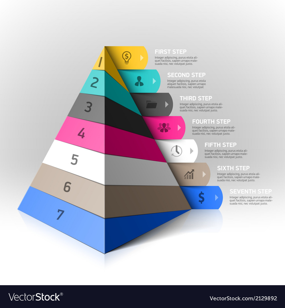 Layered pyramid steps design element vector | Price: 1 Credit (USD $1)