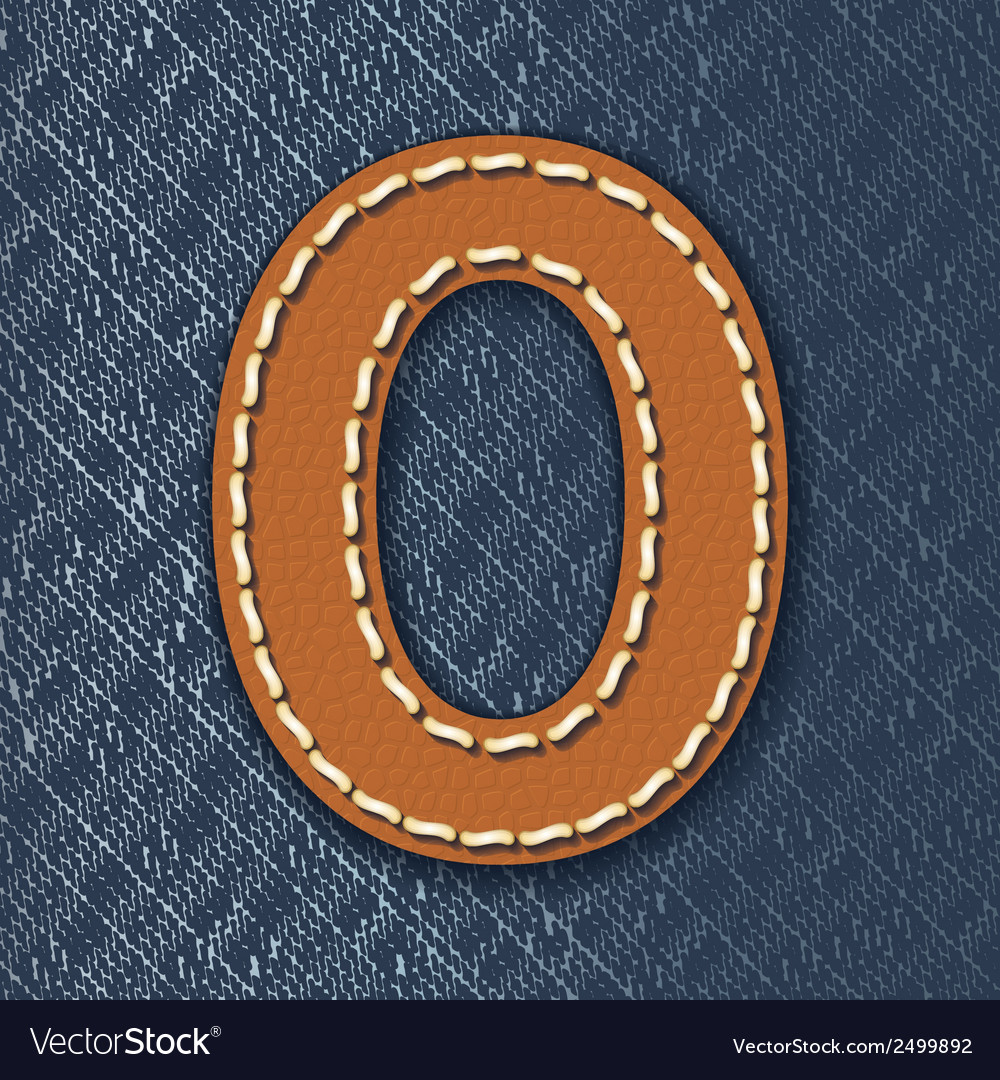 Number 0 made from leather on jeans background vector | Price: 1 Credit (USD $1)