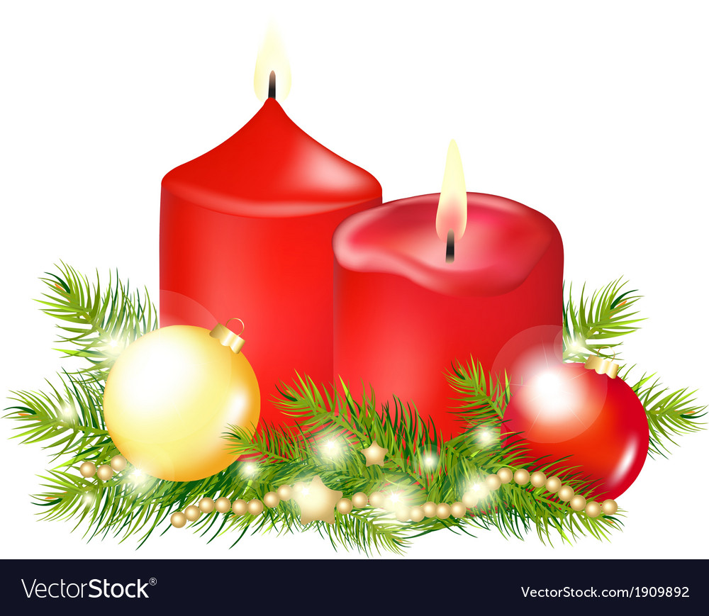 Red christmas candle vector | Price: 1 Credit (USD $1)