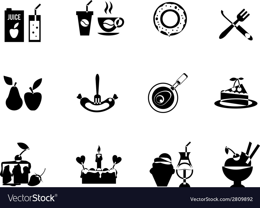 Set of black food icons vector | Price: 1 Credit (USD $1)