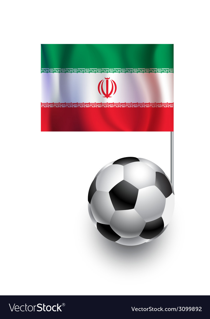Soccer balls or footballs with flag of iran vector | Price: 1 Credit (USD $1)