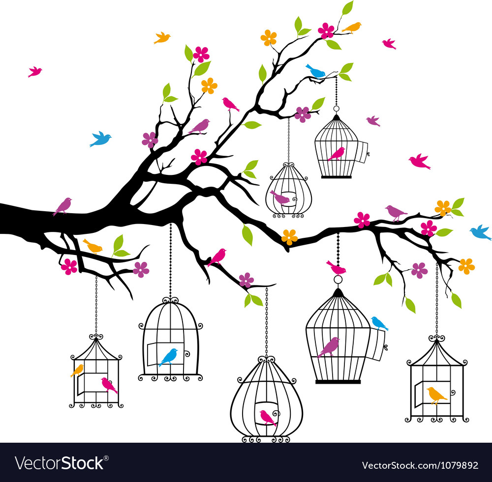 Tree with birds and birdcages vector | Price: 1 Credit (USD $1)
