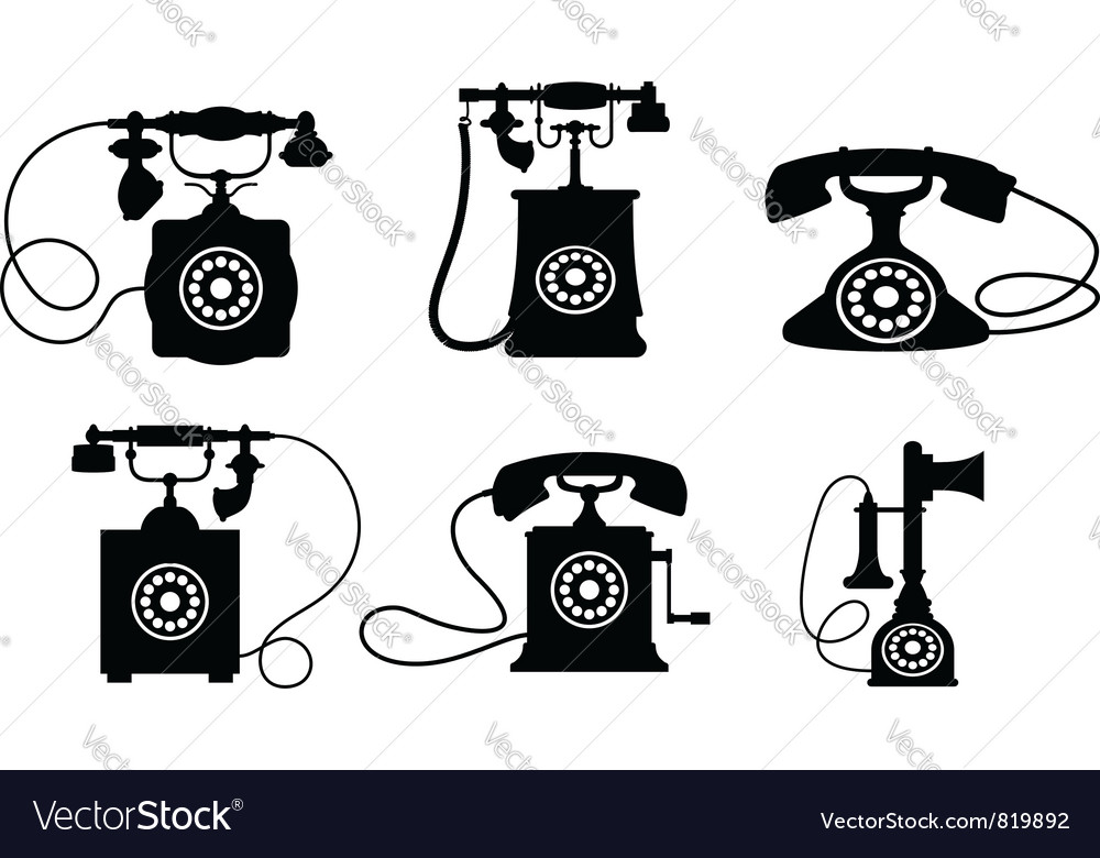 Vintage telephone set vector | Price: 1 Credit (USD $1)