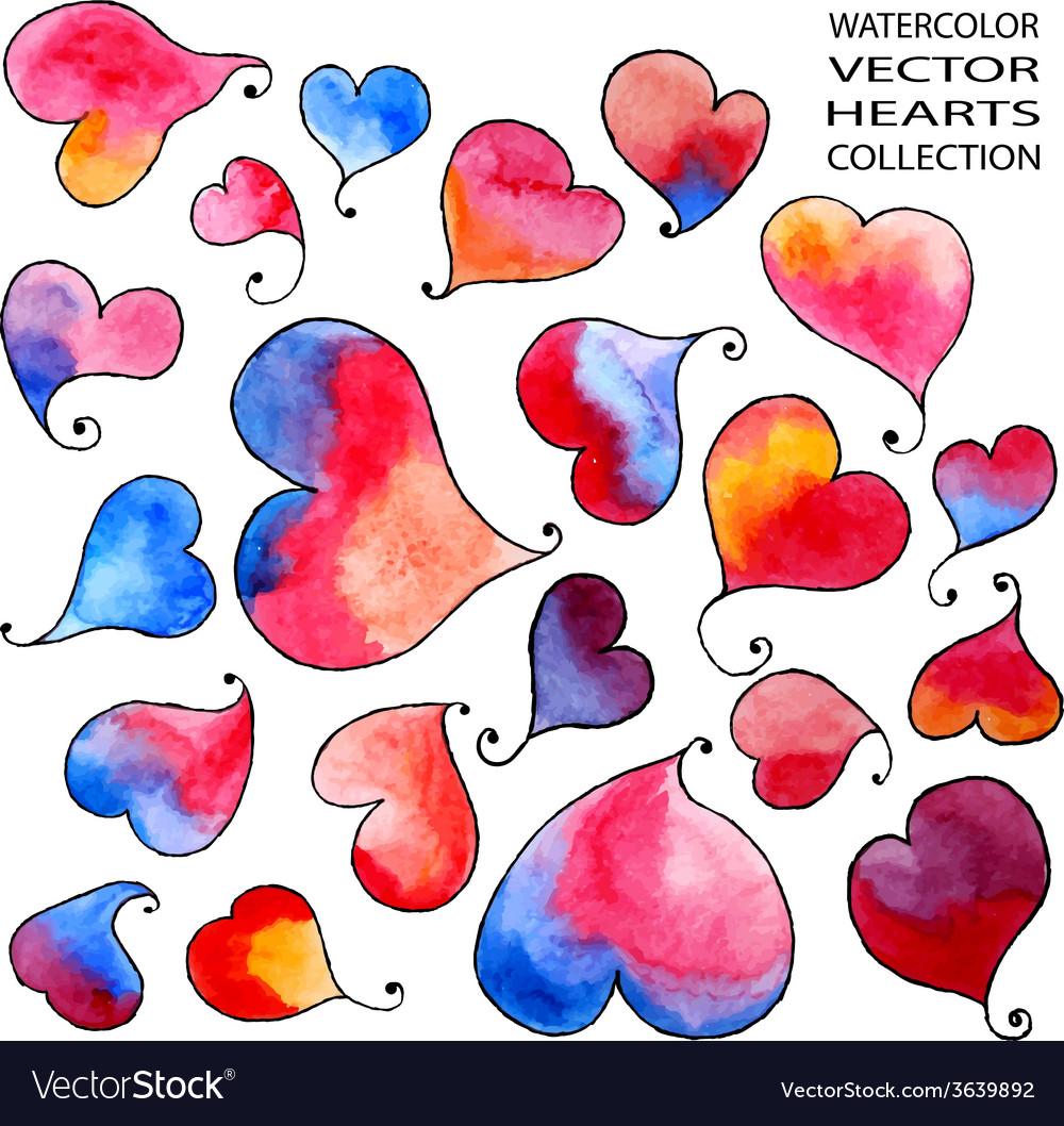 Watercolor rainbow hearts vector