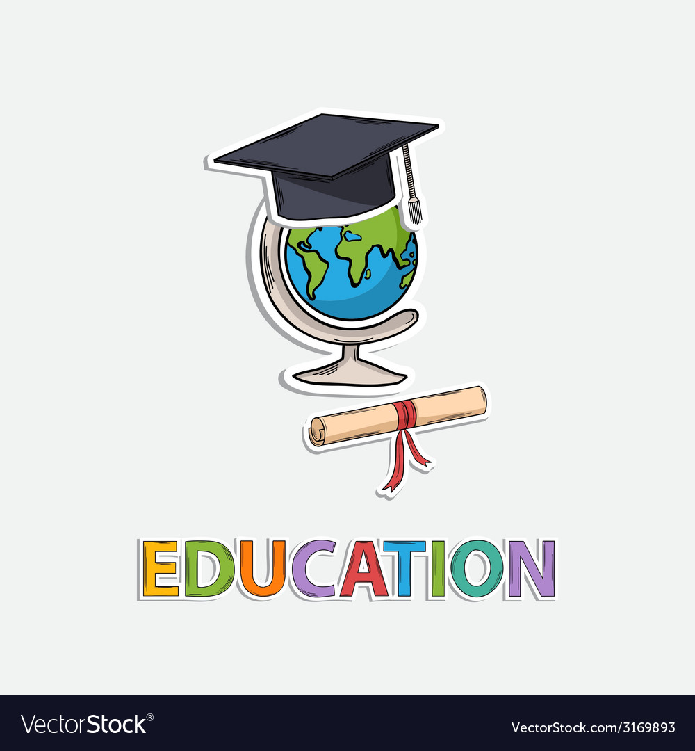 Concept icon educationglobe scroll hat graduate vector | Price: 1 Credit (USD $1)