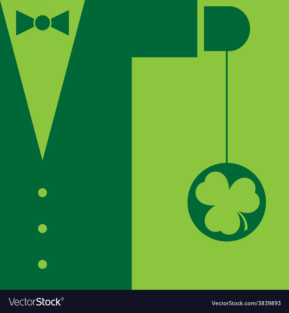 Green suit with bow tie and yo yo shamrock vector | Price: 1 Credit (USD $1)