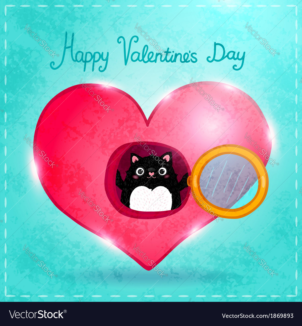 Happy valentines day card with cat vector | Price: 1 Credit (USD $1)