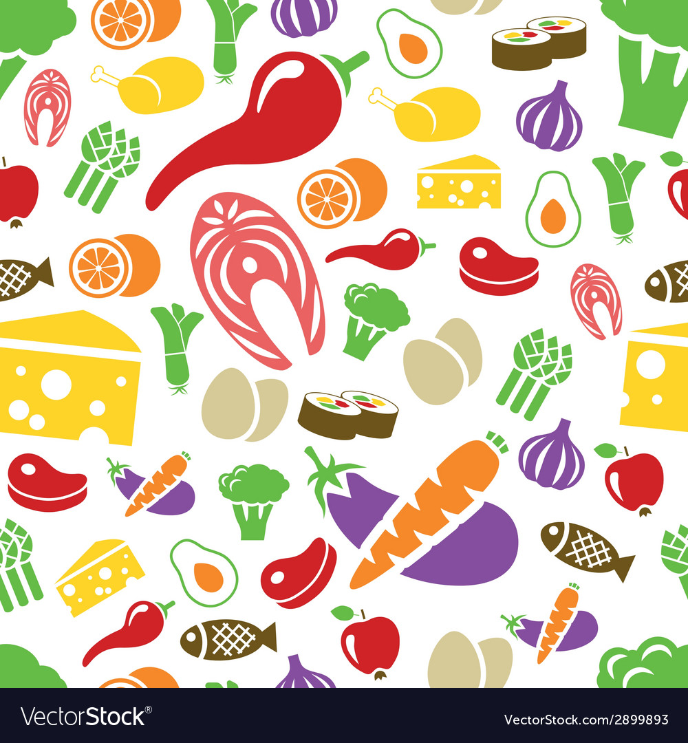 Healthy food seamless pattern vector | Price: 1 Credit (USD $1)