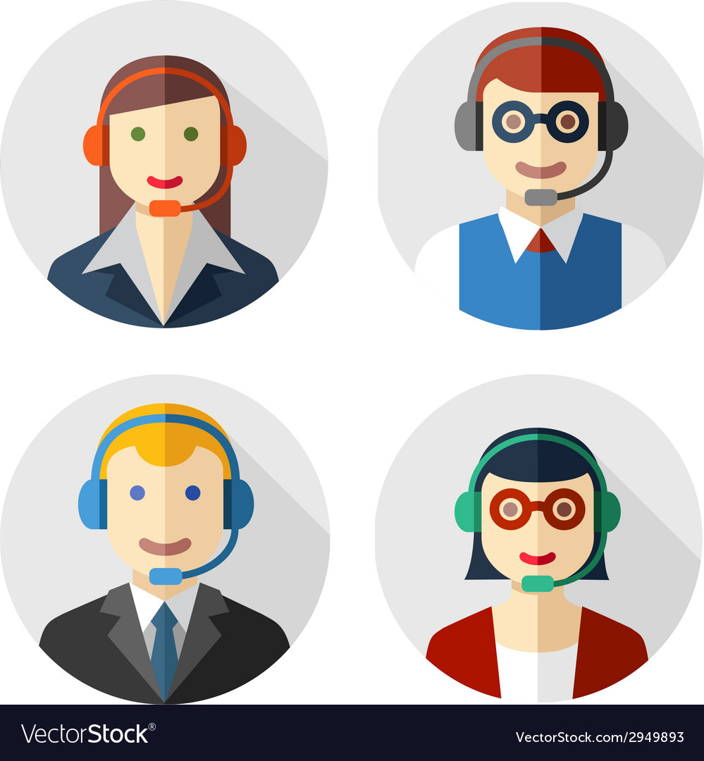 Male and female call center avatars vector | Price: 1 Credit (USD $1)