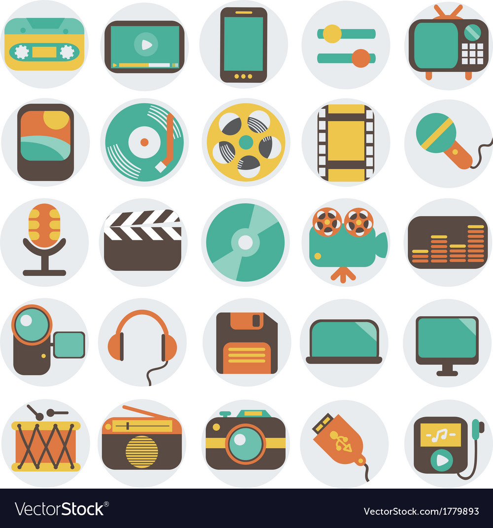 Multimedia flat icons set vector | Price: 1 Credit (USD $1)