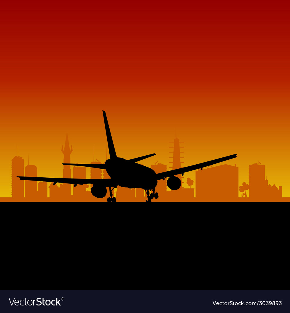Plane lands color vector | Price: 1 Credit (USD $1)