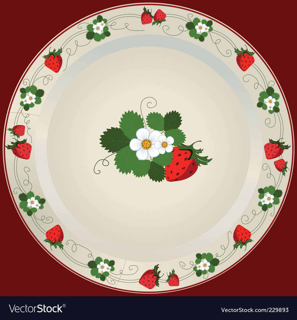 Plate with strawberries vector | Price: 3 Credit (USD $3)