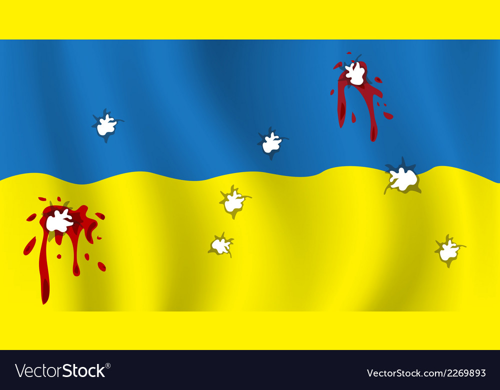 The ukrainian flag with bullet holes and blood vector | Price: 1 Credit (USD $1)
