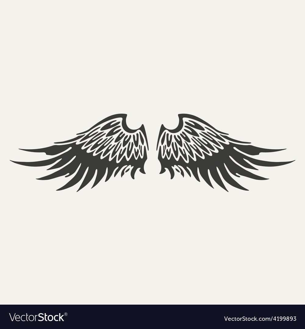 Wings black and white style vector | Price: 1 Credit (USD $1)