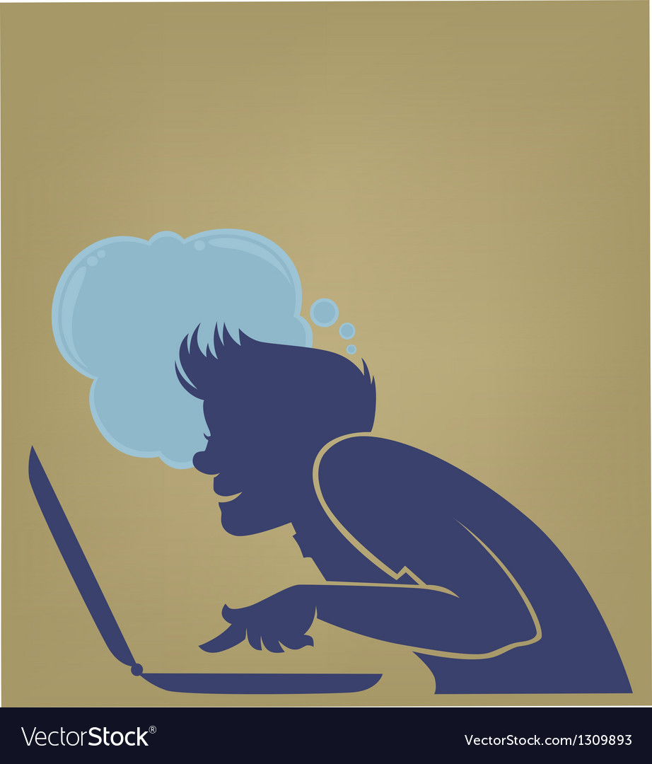 Young computer user vector | Price: 1 Credit (USD $1)
