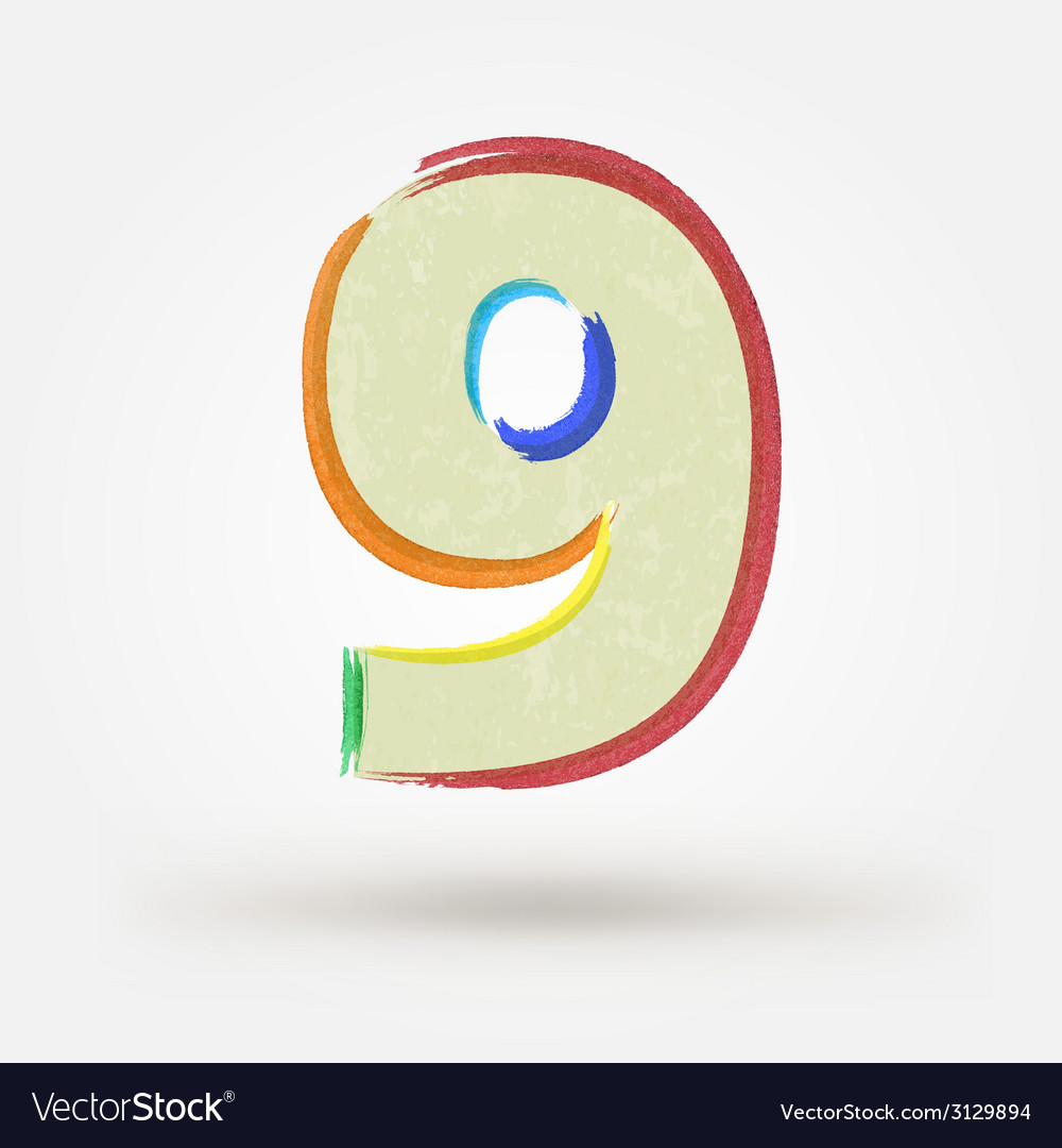 Alphabet letter number nine watercolor paint vector | Price: 1 Credit (USD $1)