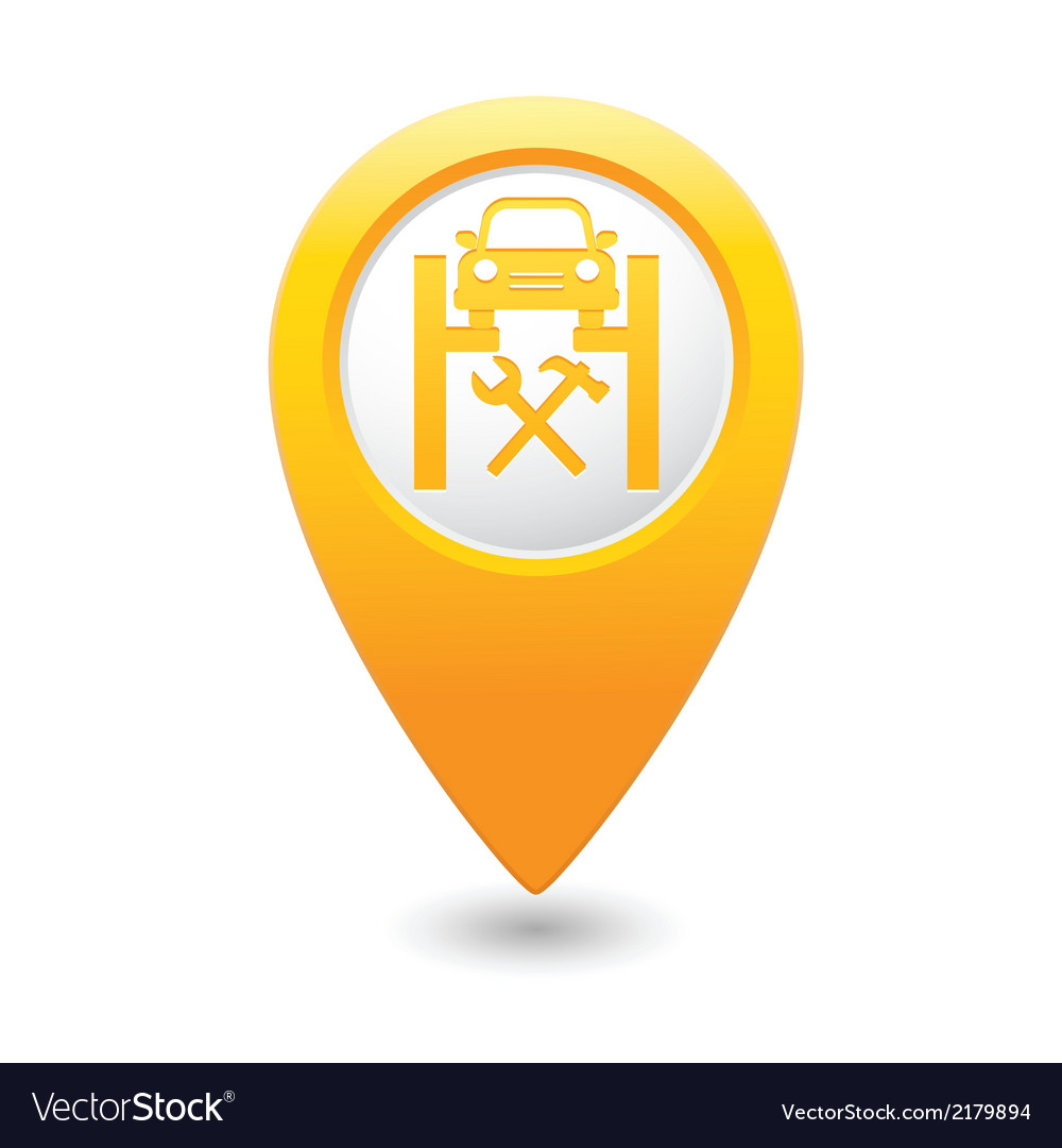 Car service icon on map pointer vector | Price: 1 Credit (USD $1)