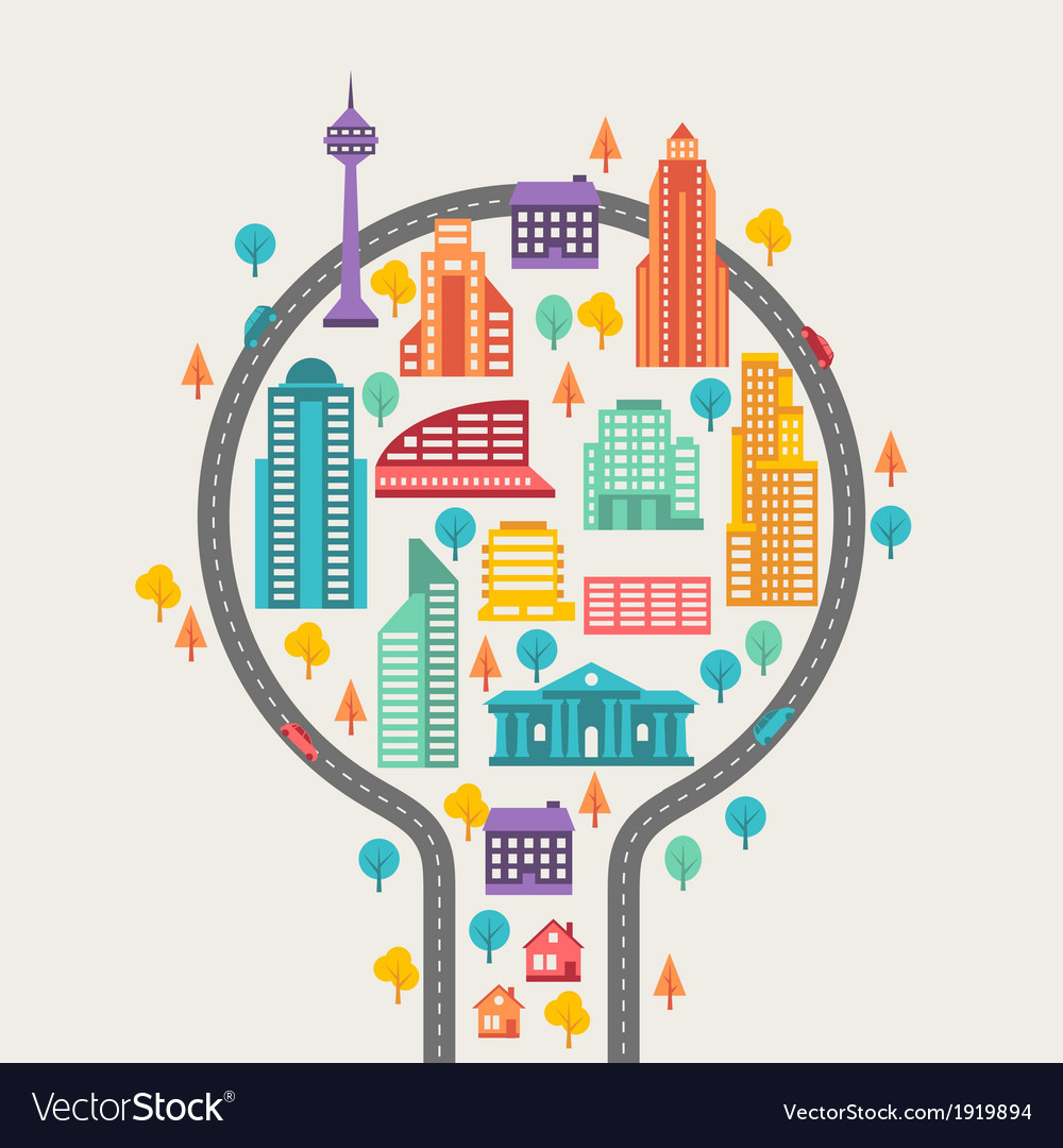 Cityscape background with buildings vector | Price: 1 Credit (USD $1)