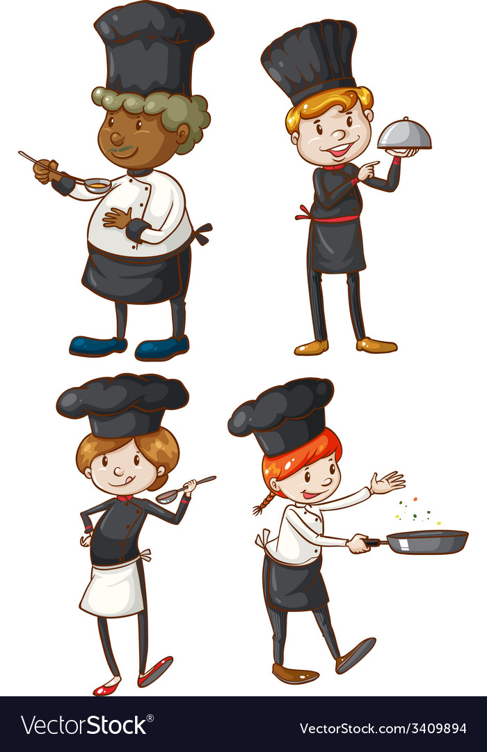 Four excellent chefs vector | Price: 3 Credit (USD $3)