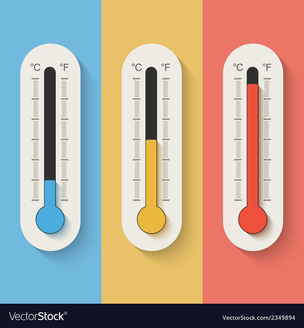 Thermometers on color background vector | Price: 1 Credit (USD $1)