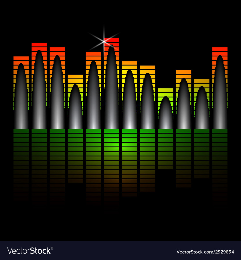 Music equalizer bars on black background vector | Price: 1 Credit (USD $1)
