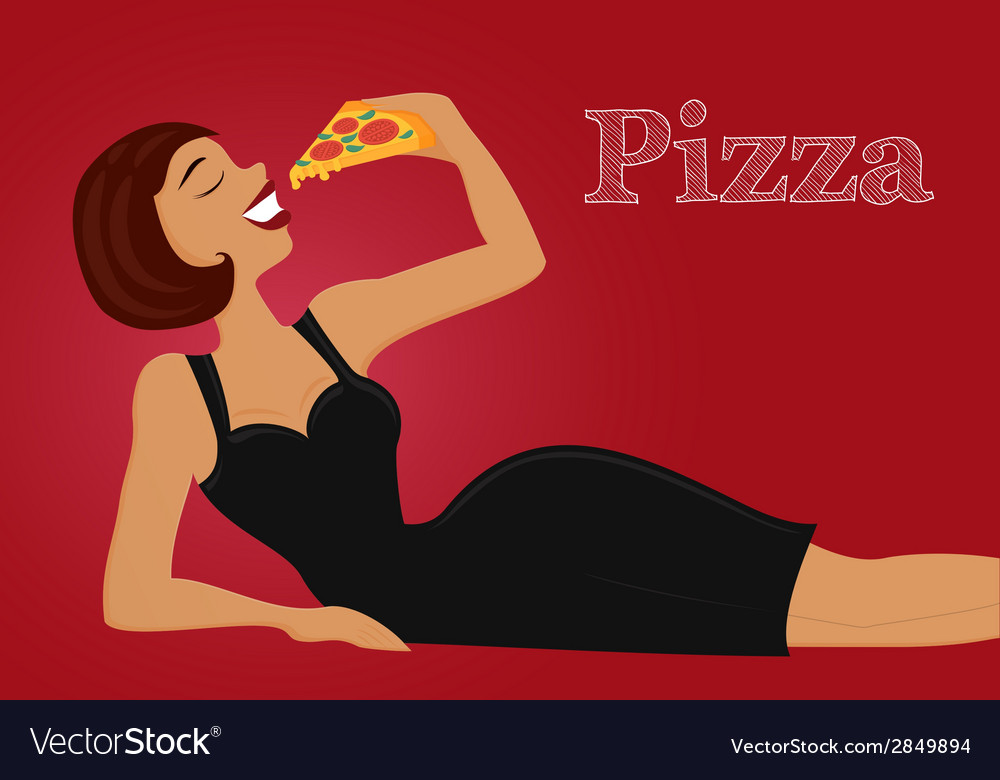 Pin up beautiful woman eating pizza isolated flat vector   Price: 1 Credit (USD $1)