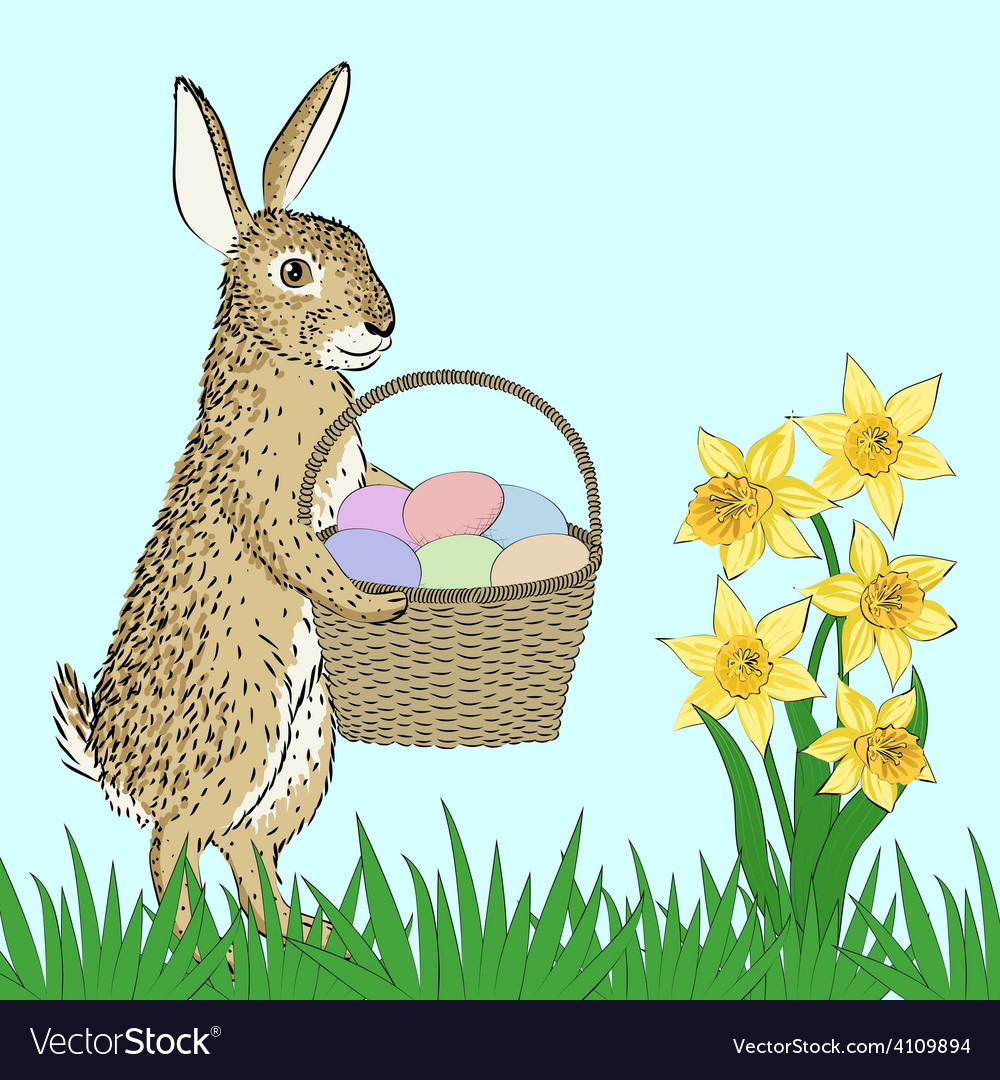 Rabbit and basket with eggs vector | Price: 1 Credit (USD $1)