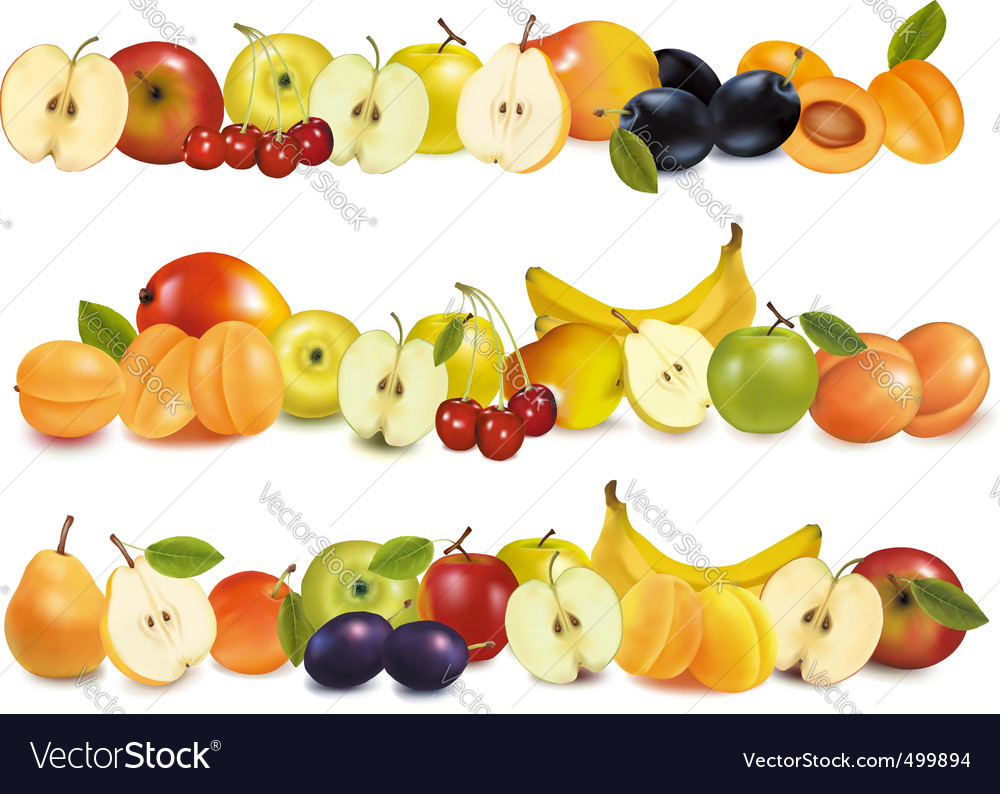 Set of fruit backgrounds vector | Price: 1 Credit (USD $1)