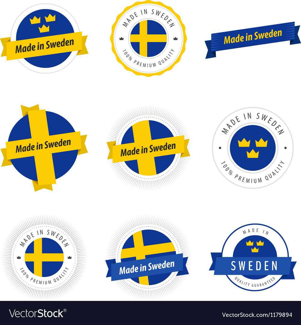 Set of made in sweden labels and ribbons vector | Price: 1 Credit (USD $1)