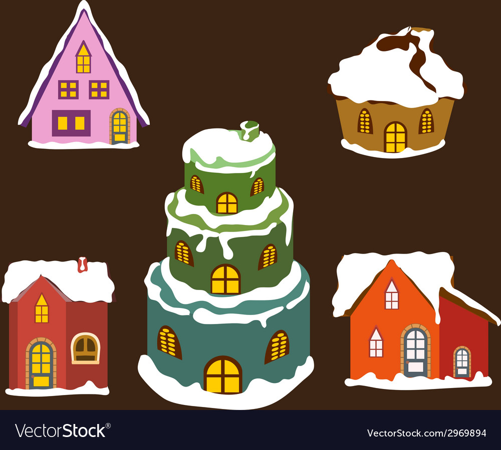 Set of winter christmas house for design 1 vector | Price: 1 Credit (USD $1)
