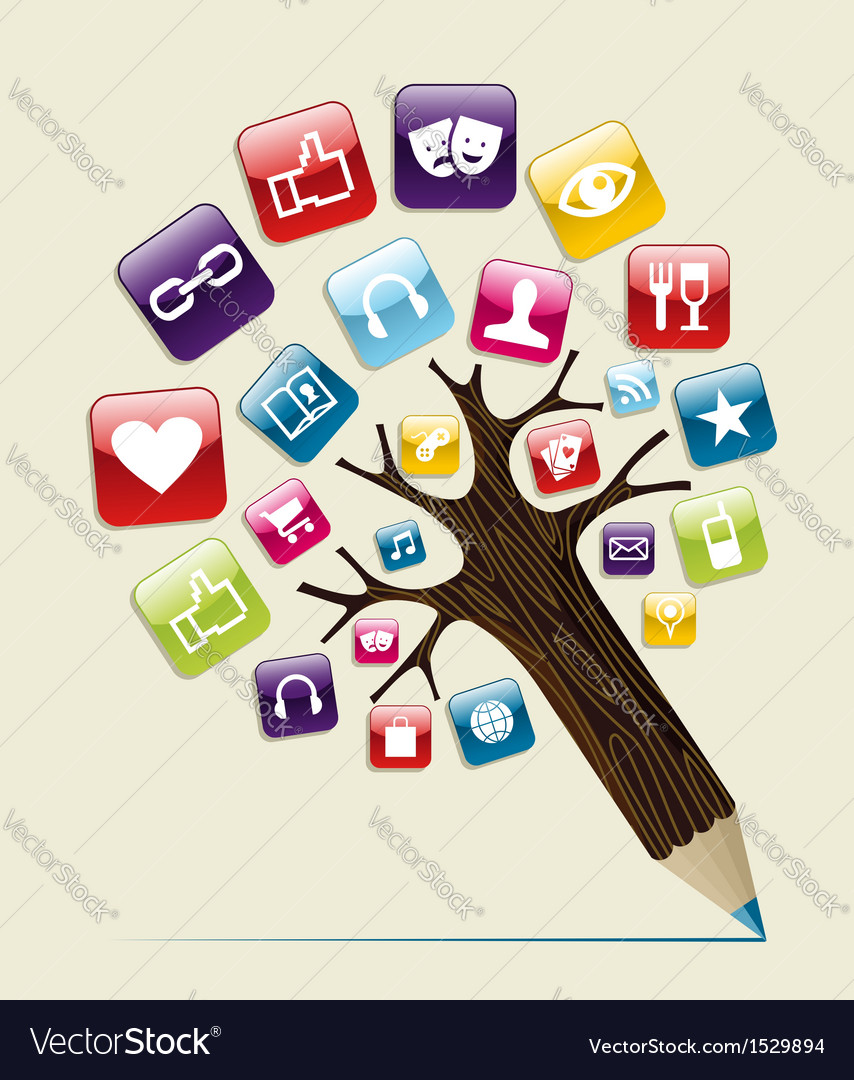 Social media concept pencil tree vector | Price: 1 Credit (USD $1)