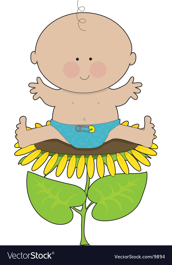 Sunflower baby boy vector | Price: 1 Credit (USD $1)