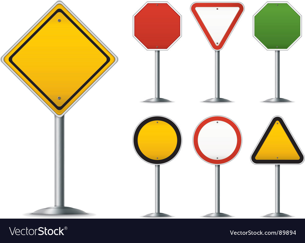Traffic sign set vector | Price: 1 Credit (USD $1)