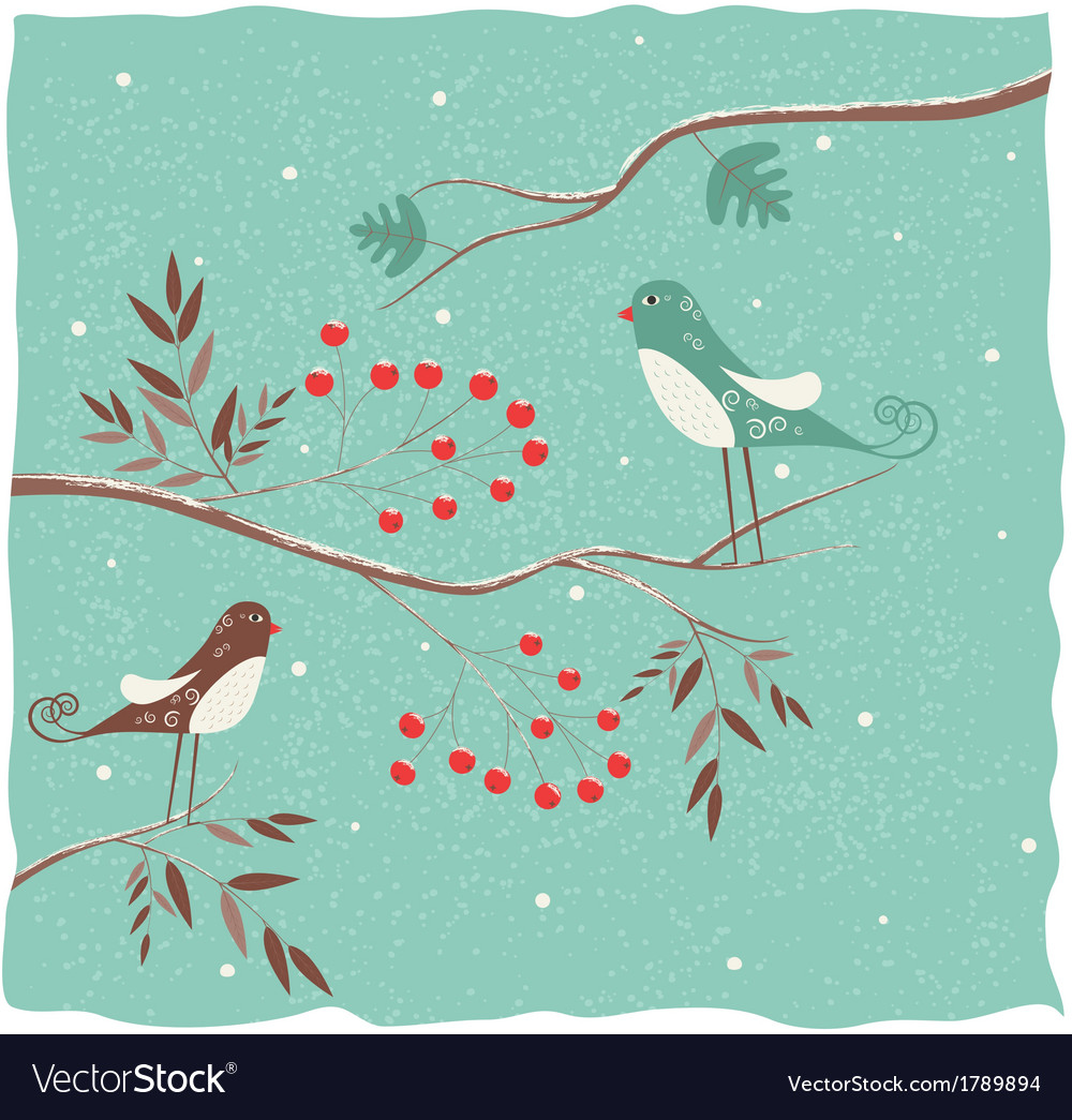 Two birds on the branch winter background vector | Price: 1 Credit (USD $1)