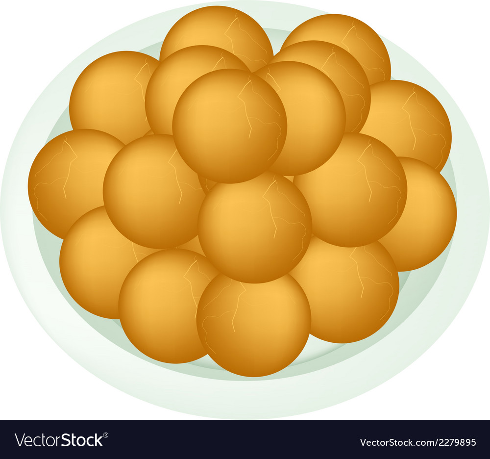 A dish of deep fried sweet potato balls vector | Price: 1 Credit (USD $1)