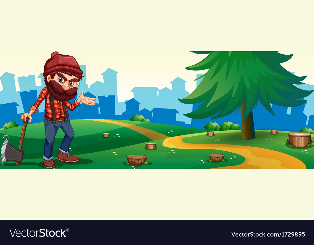 A man at the hilltop holding a sharp axe vector | Price: 3 Credit (USD $3)
