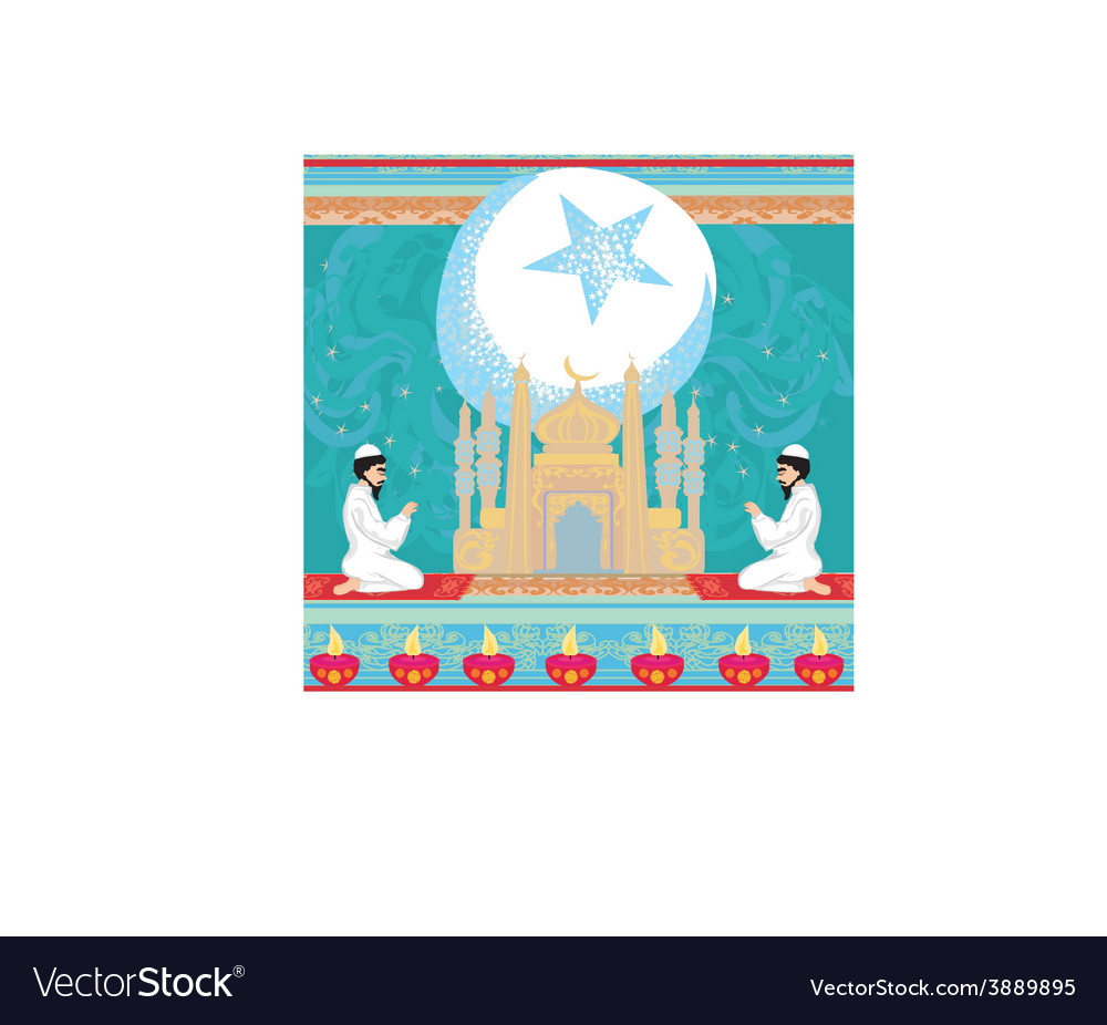 Abstract religious background - muslim men praying vector | Price: 1 Credit (USD $1)