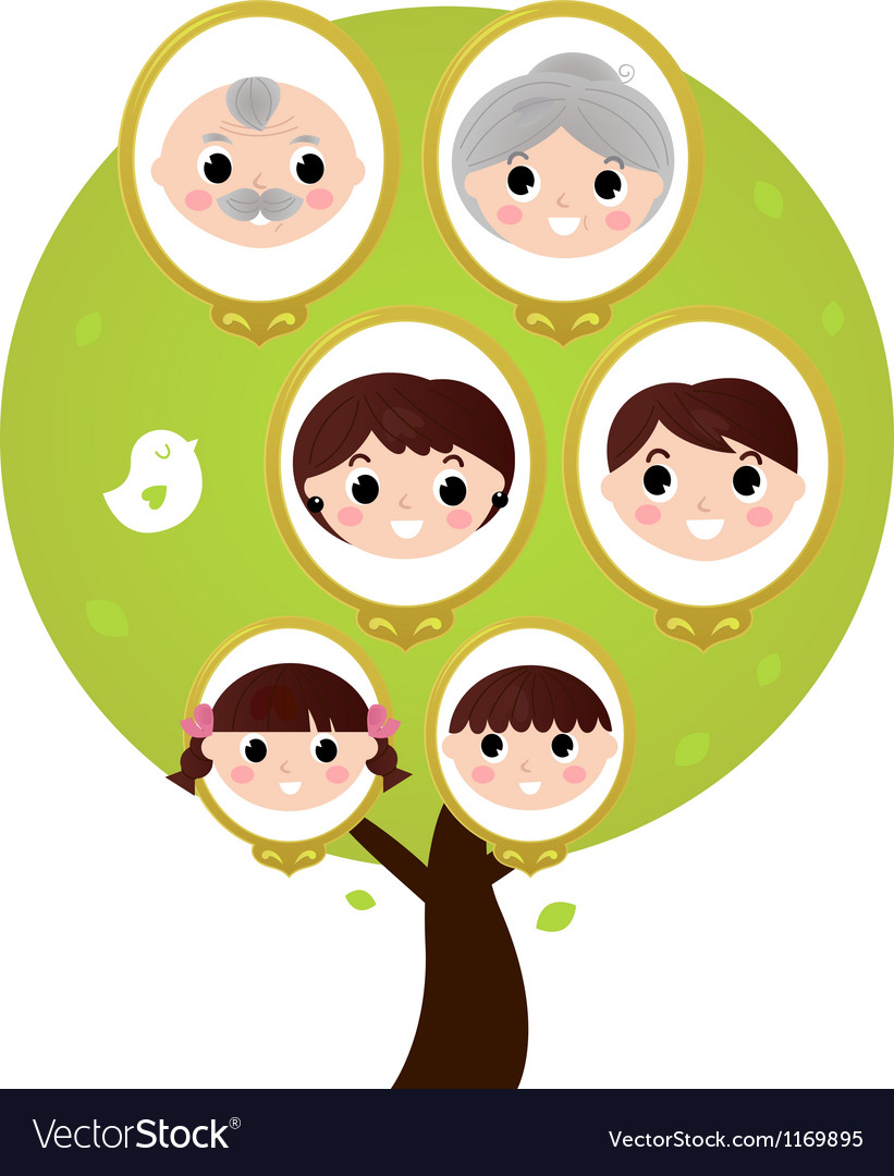 Cartoon generation family tree isolated on white vector | Price: 1 Credit (USD $1)