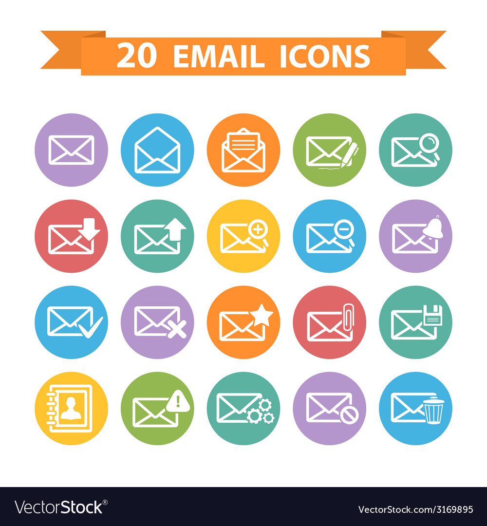 Flat email icons set vector | Price: 1 Credit (USD $1)