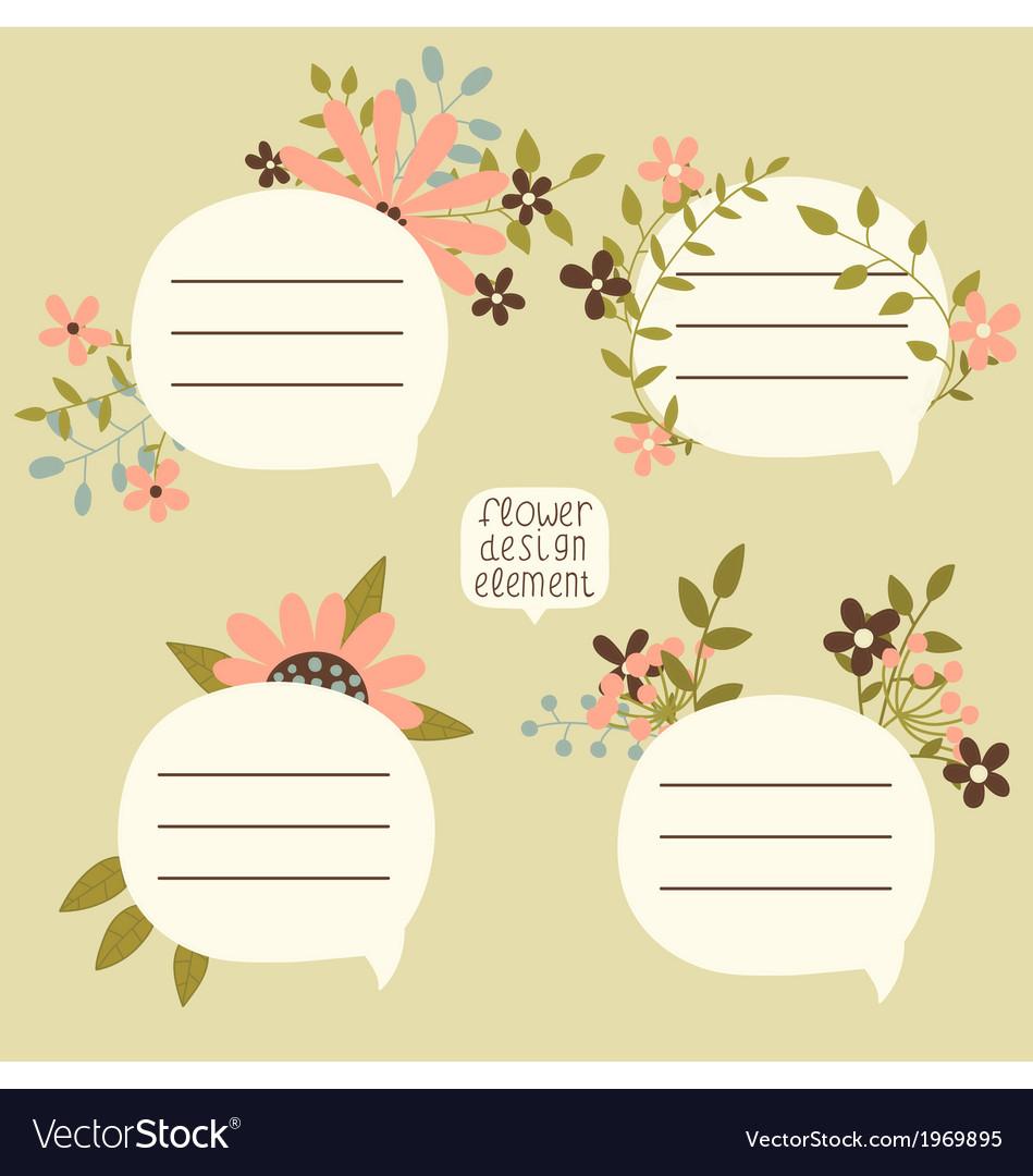Floral speech bubbles vector | Price: 1 Credit (USD $1)