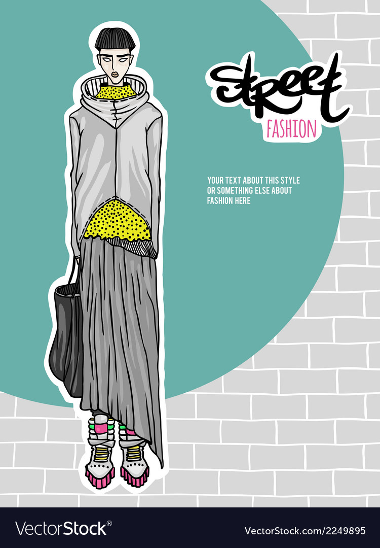 Girl street fashion look vector | Price: 1 Credit (USD $1)