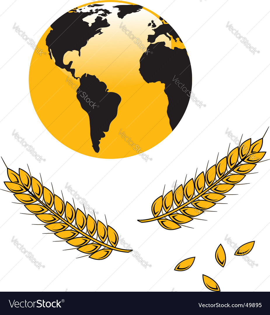 Globe and wheat grains vector | Price: 1 Credit (USD $1)