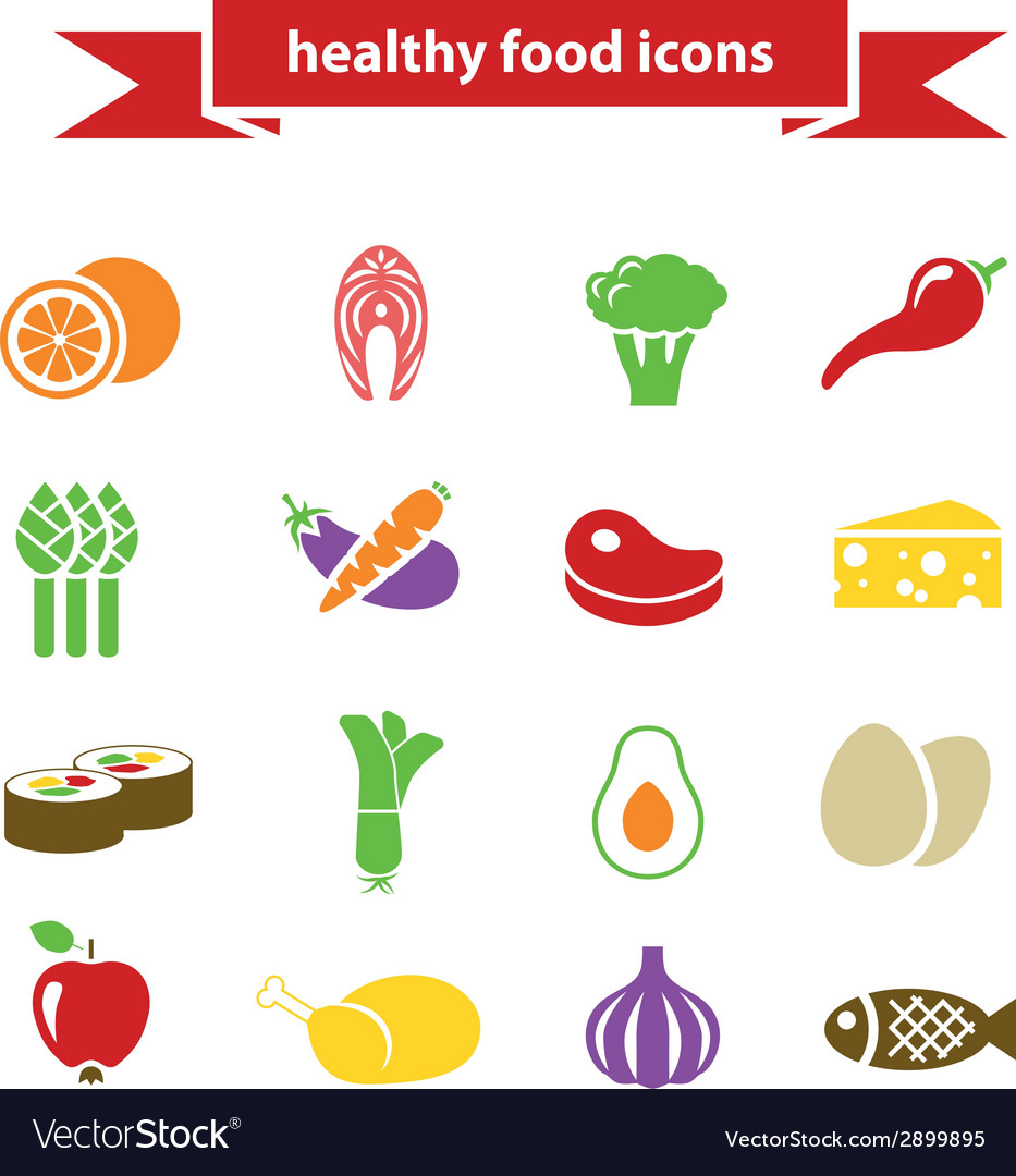 Healthy food icons vector | Price: 1 Credit (USD $1)