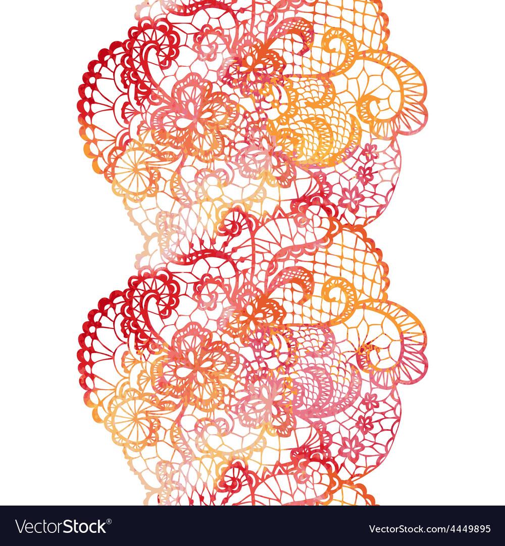 Lacy elegant watercolor border lacy vintage trim vector | Price: 1 Credit (USD $1)