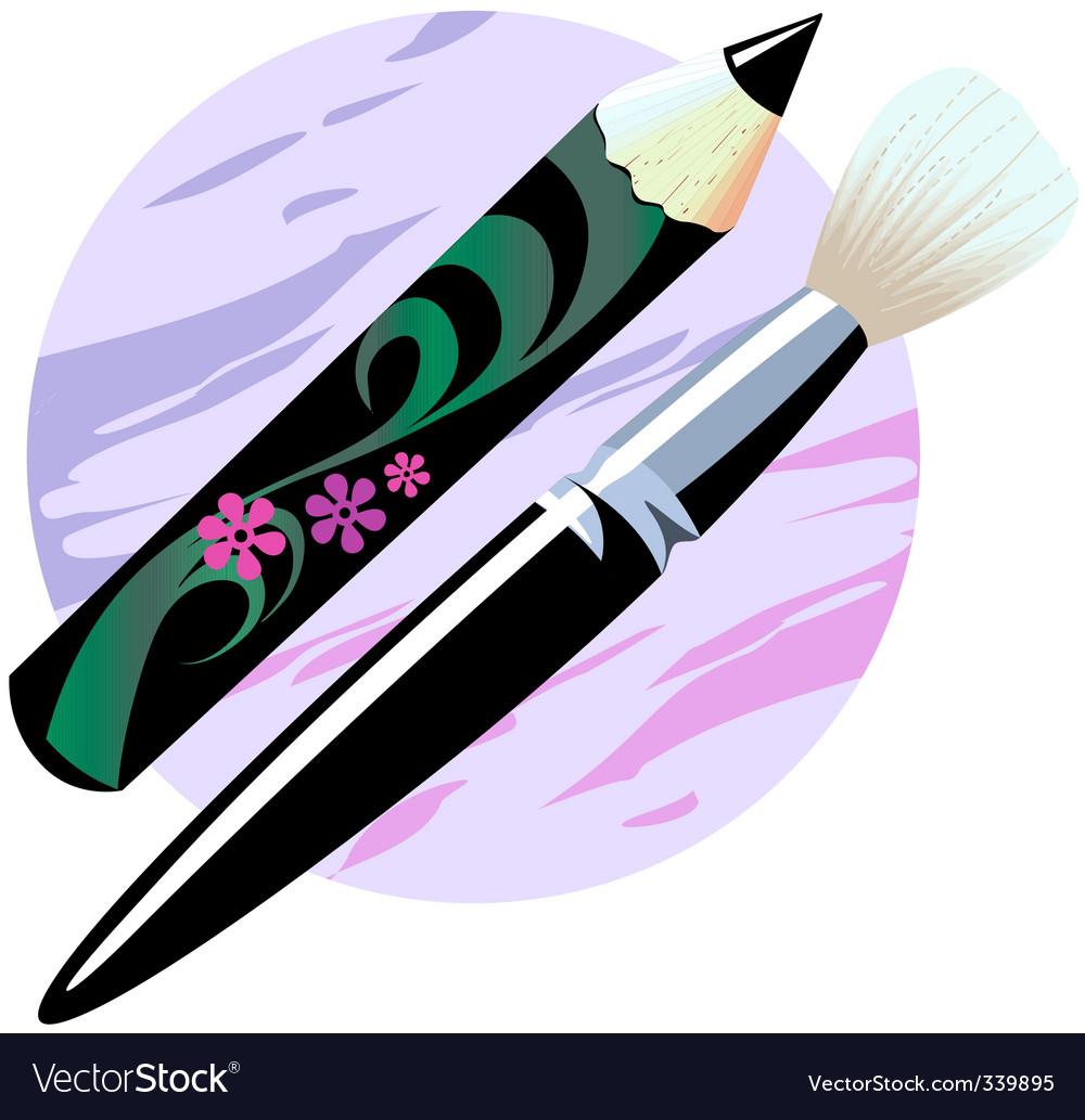 Makeup brush and pencil vector